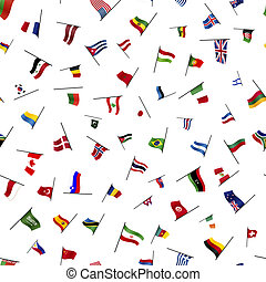 Many flags on a pole, seamless pattern - A lot of flags on a...