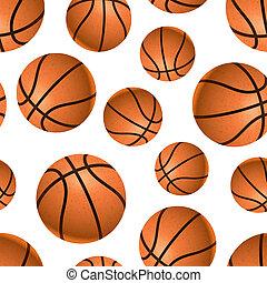 Many realistic basketball balls on white, seamless pattern -...