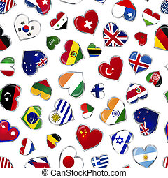 Heart shaped glossy flags of world sovereign states on...