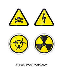 Set of four warnings signs for high voltage, radiation, biohazard and poison isolated on white