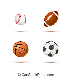 Set of realistic sport balls for soccer, basketball,...