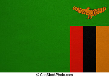 Flag of Zambia real detailed fabric texture - Zambian...