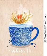 Teacup white tea kraft - Watercolor teacup with white tea...