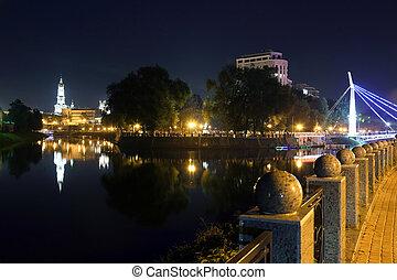 quay night city Kharkov. Ukraine