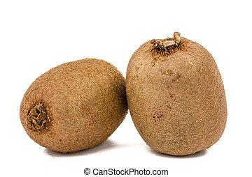 Two kiwi fruit, isolated on white background