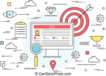 Online resume and CV profile concept line style illustration