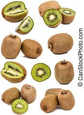 Set of fresh kiwi fruits isolated on white background