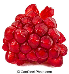 Ripe pomegranate seeds, isolated on white background