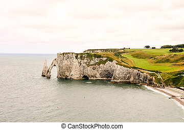 Falaise d'Amont Etretat City Normandy France Europe - Photo...
