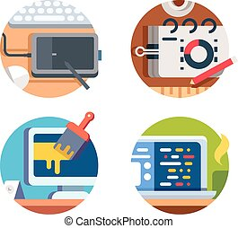 Computer software design and drawing. Graphics tablet and...