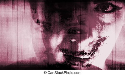 Horror red white torn mouth female - Scary horror red white...
