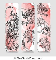 Bookmark set with chinese dragon