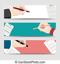 Horizontal banners template with signing document