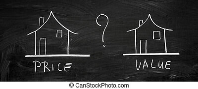 On the blackboard with chalk drawn two houses