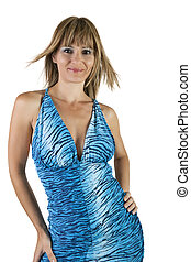 Female Model - A woman in a blue tiger-striped and tight...