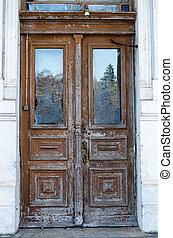 Old carved wooden doors. Plinkses, Old Lithuanian vilage