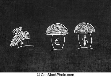 Dollar, the euro and the ruble shown as the mushrooms