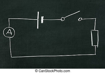 The electrical diagram drawn on a blackboard with chalk