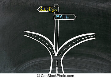 Pathway to success or failure. Drawing on the blackboard