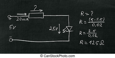 On blackboard painted with chalk electrical scheme. Calculate the resistor.