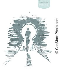 Drawn vector man standing open keyhole sketch - Hand drawn...
