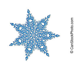 Blue shiny snowflake close-up on a white background -...