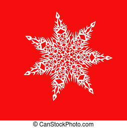White shiny snowflake close-up on a red background -...