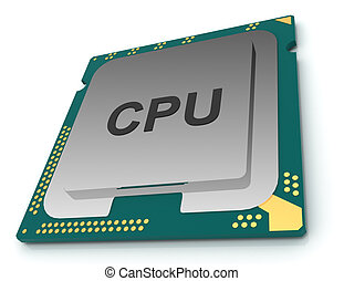 3d illustration CPU chip, central processor unit on white...