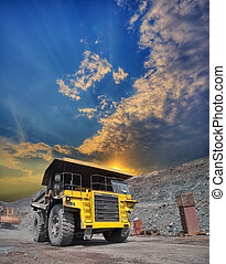 Mining truck on the opencast - Mining truck loaded withiron...