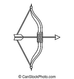 Bow and arrow icon, outline style - icon in outline style on...