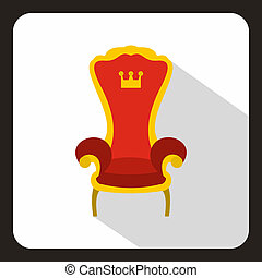 Red royal throne icon, flat style