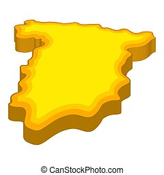 Map of Spain icon, cartoon style - Map of Spain icon in...