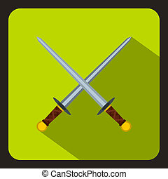Crossed swords icon, flat style - icon in flat style on a...
