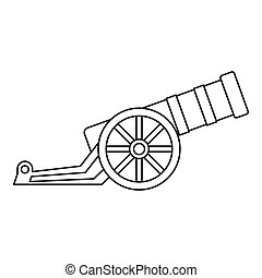 Ancient cannon icon, outline style - icon in outline style...