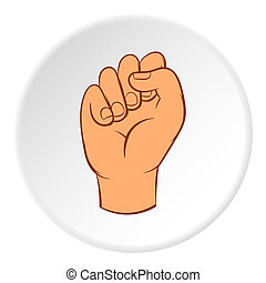 Clenched fist icon, cartoon style