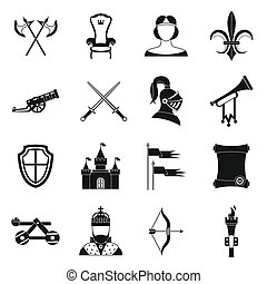 Knight medieval icons set, simple style - Knight medieval...