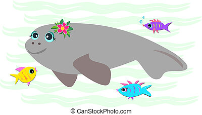 Peaceful Manatee with Friendly Fish - Here is a peaceful...
