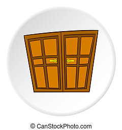 Double door icon, cartoon style - Double door icon in...