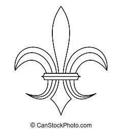 Lily heraldic emblem icon, outline style - Lily heraldic...