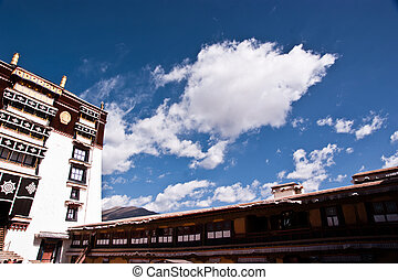 Potala palace parts - close view of the potala palace in...