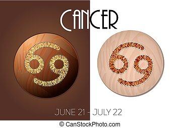 Cancer zodiac sign in circular frame, vector Illustration,...