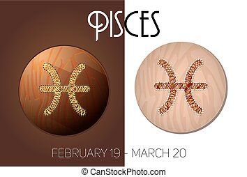 Pisces zodiac sign in circular frame, vector Illustration,...
