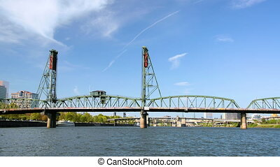 Hawthorne Bridge and Willamette River - View of the...