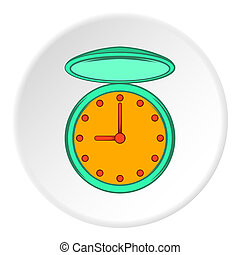 Pocket watch icon, cartoon style - Pocket watch icon in...