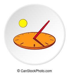Sundial icon, cartoon style - Sundial icon in cartoon style...