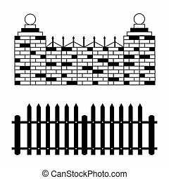 monochrome fences collection of symbols