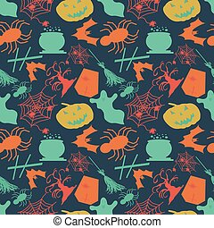 seamless pattern in retro style Halloween