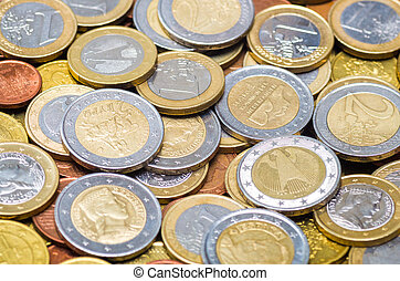 Background made from different countries euro coin's