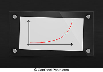 Behind glass sheet of paper with exponential growth chart