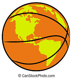 basketball with impression of earth on it